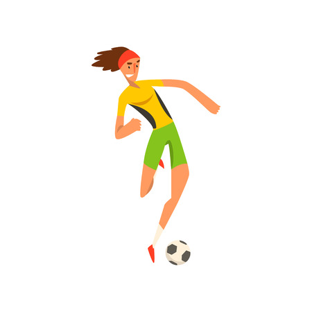 Soccer player in green and yellow uniform running and kicking the ball cartoon vector Illustration on a white background