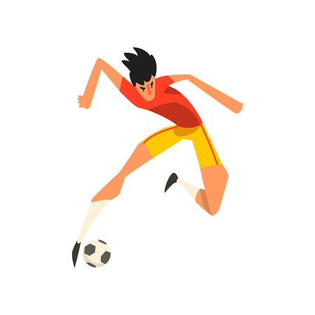 Soccer player jumping touch a soccer ball in the air vector Illustration on a white background Zdjęcie Seryjne - 103875597