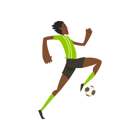 African american soccer player running and kicking the ball vector Illustration on a white background Illustration