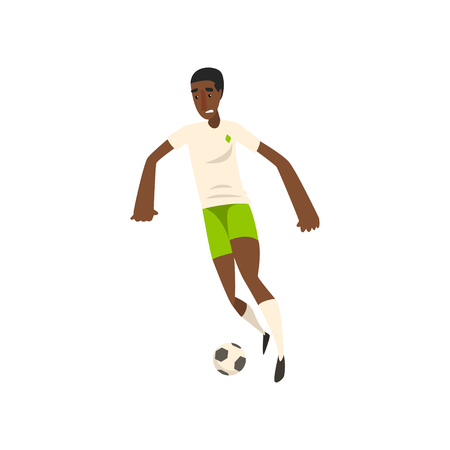 African american soccer player kicking the ball vector Illustration on a white background Illustration