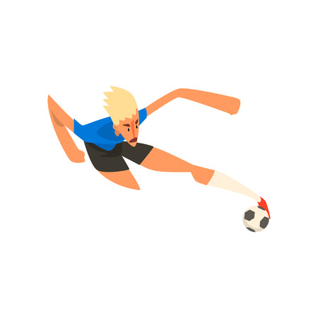 Player shooting a soccer ball vector Illustration on a white background 일러스트