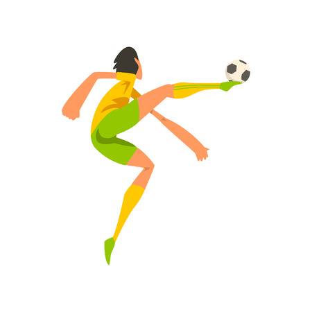 Soccer player in green and yellow uniform kicking the ball cartoon vector Illustration on a white background