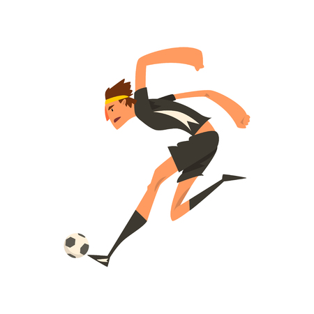 Soccer player in black uniform kicking the ball cartoon vector Illustration on a white background