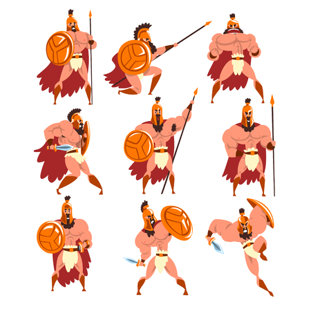 Spartan warriors in golden armor and red cape set, ancient soldiers characters vector Illustrations on a white background Illustration