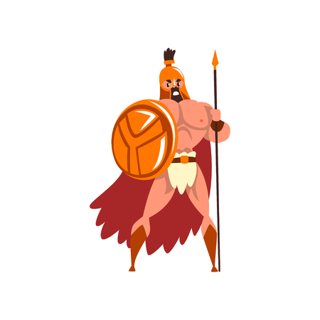 Spartan warrior in golden armor and red cape standing with shield and spear vector Illustration on a white background