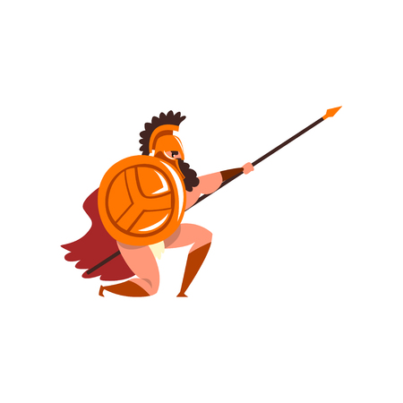 Spartan warrior in golden armor and red cape, ancient soldier with shield and spear vector Illustration on a white background