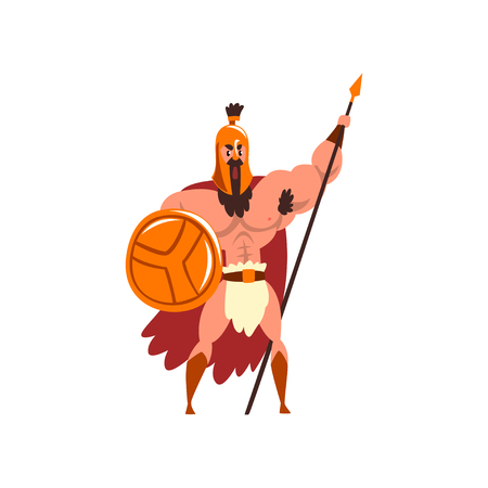 Spartan muscular warrior in golden armor and red cape, ancient soldier character with shield and spear vector Illustration on a white background Illustration