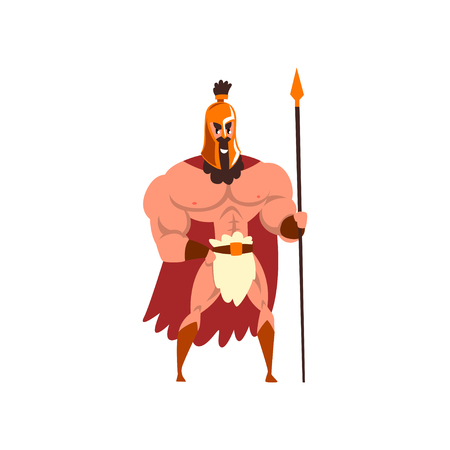Spartan warrior in golden armor and red cape with spear vector Illustration on a white background Illustration