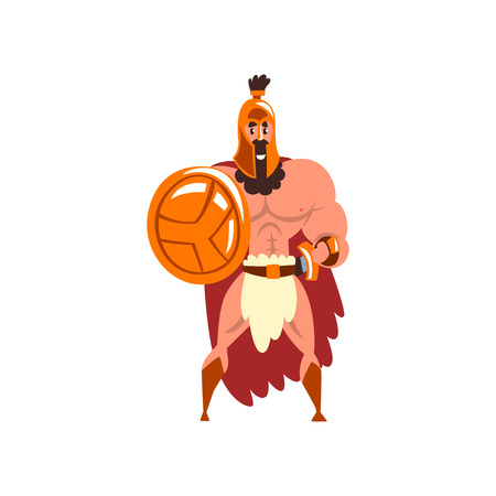 Spartan warrior in golden armor and red cape, ancient soldier character vector Illustration on a white background Illustration