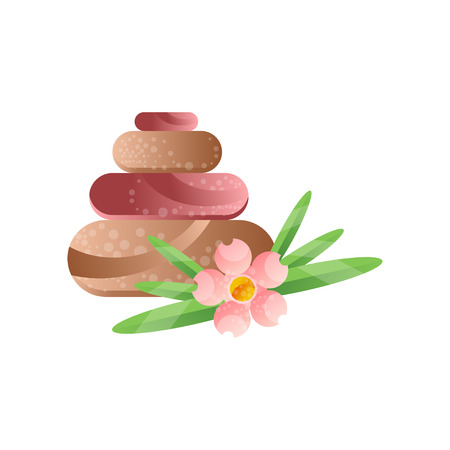 Basalt massage stones and flower, spa design element vector Illustration on a white background