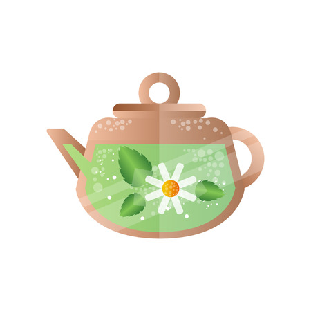 Chamomile tea in teapot, spa design element vector Illustration on a white background  イラスト・ベクター素材
