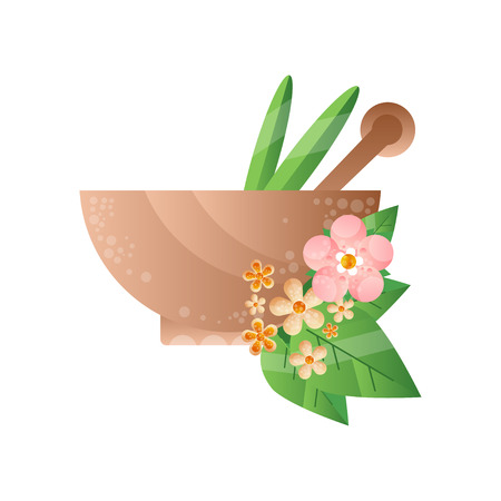 Stone mortar with green leaves and pestle, spa design element vector Illustration on a white background Çizim