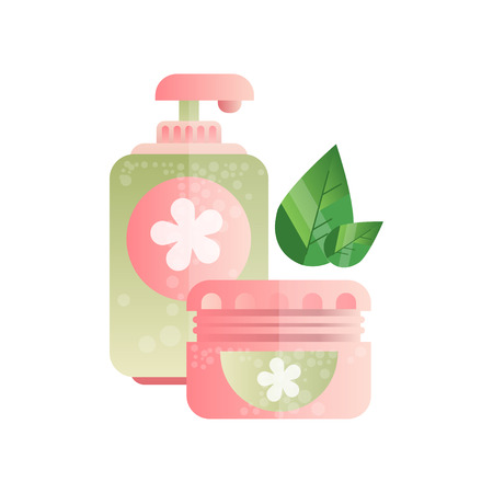 Soap pump bottle and cream jar, cosmetic products package, spa design element vector Illustration on a white background Illustration
