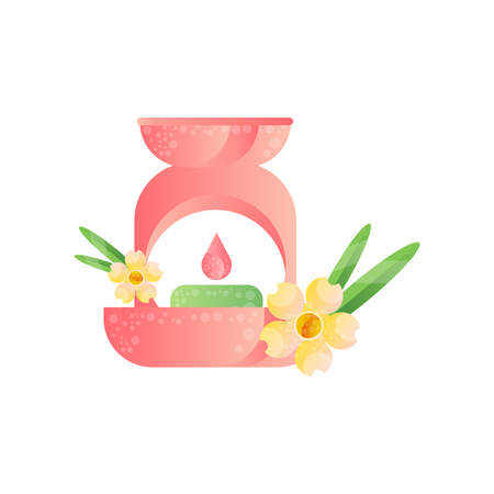 Aroma lamp and frangipani flower, aromatherapy spa design element vector Illustration on a white background