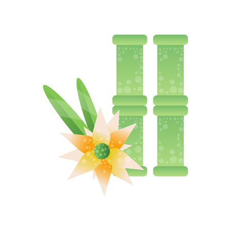 Green bamboo stems and frangipani flower, spa design element vector Illustration on a white background