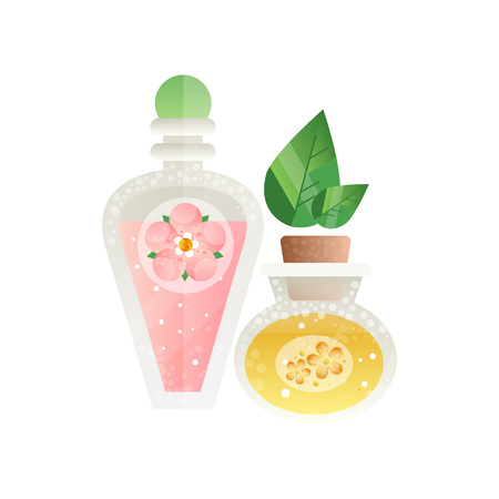 Bottles with essential oils, spa design element vector Illustration on a white background