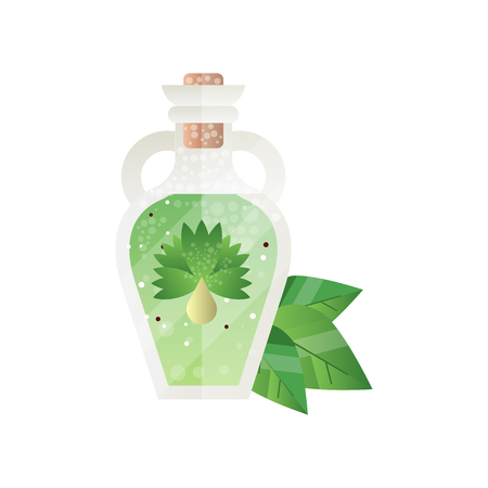 Glass bottle of essential oil, spa design element vector Illustration on a white background