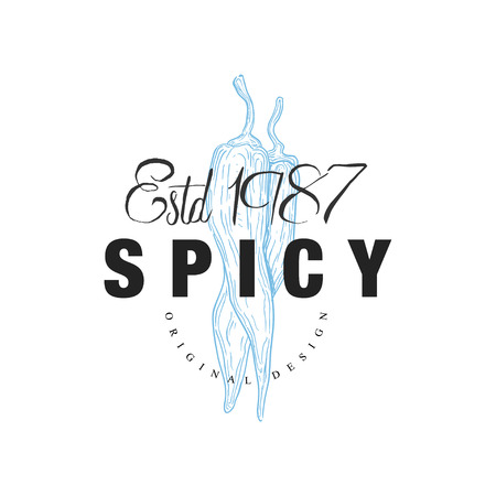 Spicy   design estd 1978, badge can be used for culinary, cosmetics, menu, restaurant, shop, market, natural health care products vector Illustration on a white background Ilustração
