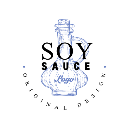 Soy sauce  original design, badge can be used for menu, restaurant, shop, sushi bar vector Illustration on a white background