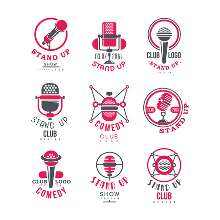 Comedy club stand up show  design set vector Illustrations on a white background