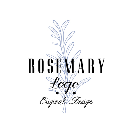Rosemary original design, aromatic culinary spicy herb emblem vector Illustration on a white background