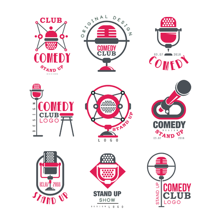 Comedy club design set, stand up show signs with retro microphone vector Illustrations on a white background