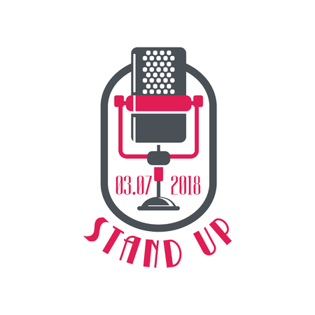 Stand up, comedy show poster with retro microphone and date vector Illustration on a white background Illusztráció