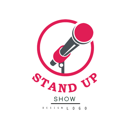 Stand up show design, comedy club emblem vector Illustration on a white background