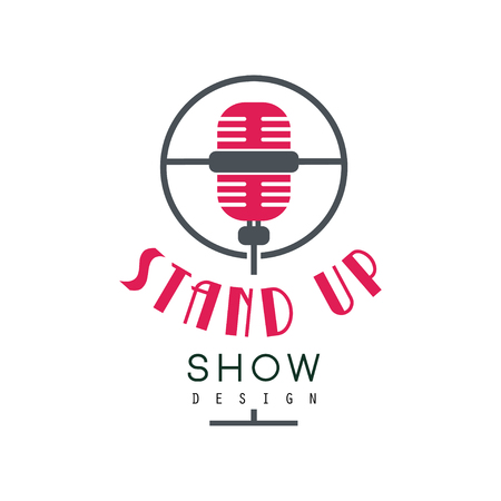 Stand up show design, comedy club sign vector Illustration on a white background