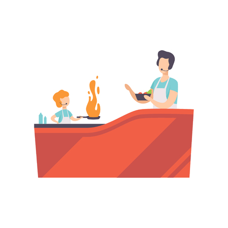 TV presenter and little kid cooking with frying pan in TV studio, cooking show vector Illustration on a white background