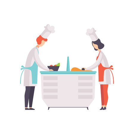 Two chefs in uniform cookong some food in the TV studio, cooking show vector Illustration on a white background