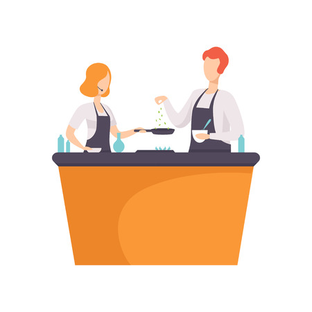 TV presenter and guest cooking some food in TV studio, cooking show vector Illustration on a white background Illustration