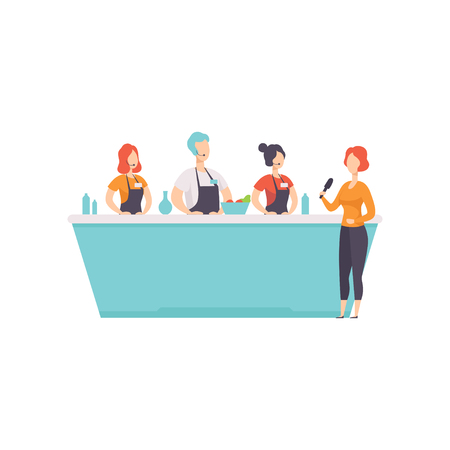 TV presenter interviewing cooks who cooking food in a TV studio vector Illustration on a white background