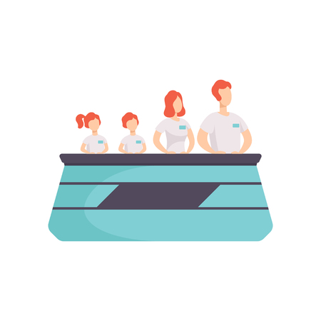 Family taking part TV in quiz show, mothe, father and their kids answering questions standing at stand with buttons vector Illustration on a white background Illustration