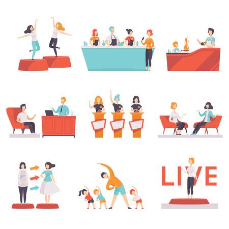 Le persone che prendono parte a un set di programmi televisivi, intrattenimento, cucina, moda, spettacoli di fitness in TV vettoriale illustrazioni su sfondo bianco Vettoriali
