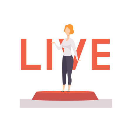Female broadcaster news reporting live vector Illustration on a white background