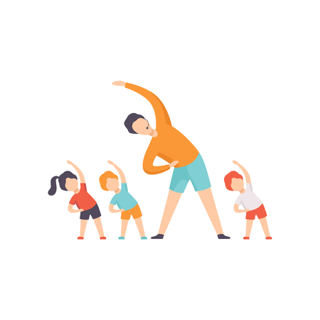 TV presenter and kids doing sports in TV studio, fitness show vector Illustration on a white background