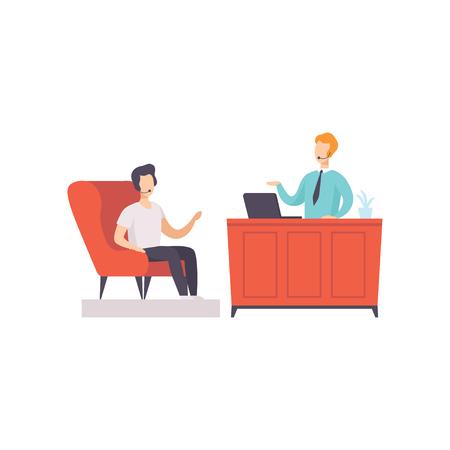 Journalist interviewing businessman in TV studio, talk show vector Illustration on a white background