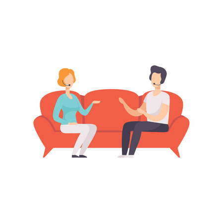 Journalist interviewing guest in a TV studio, talk show vector Illustration on a white background