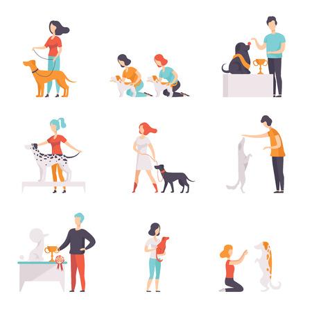 Propietarios que presentan a sus perros de raza pura en el animal doméstico cómo la exposición establece ilustraciones vectoriales sobre un fondo blanco. Ilustración de vector