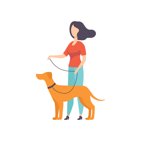 Owner keeping dog on the leash at show exhibition vector Illustration on a white background