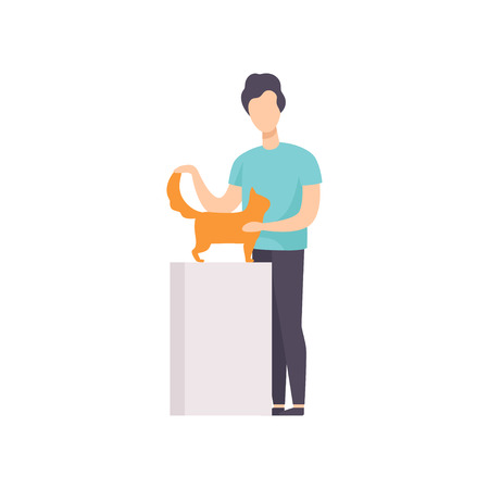 Owner presenting his red cat to jury at cat breeds show vector Illustration on a white background