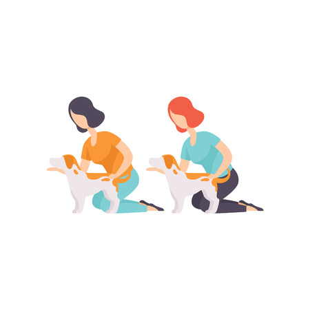 Owners presenting their purebred Jack Russell terriers at dog show exhibition vector Illustration on a white background 일러스트