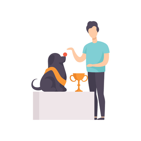 Owner presenting his purebred champion dog at pet show competition vector Illustration on a white background