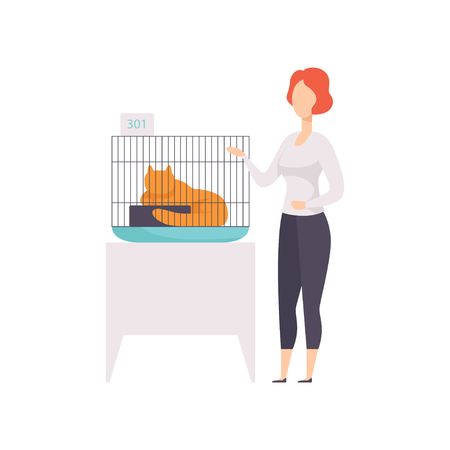 Female owner presenting her red cat in a cage at cat breeds show vector Illustration on a white background