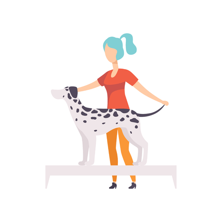Young woman presenting her purebred Dalmatian dog at show exhibition vector Illustration on a white background Иллюстрация