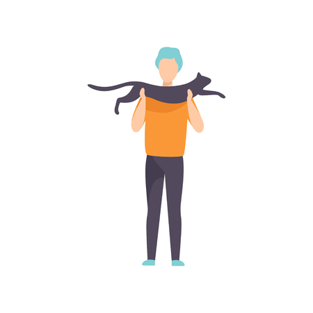 Owner presenting his black cat to jury at cat breeds show vector Illustration on a white background