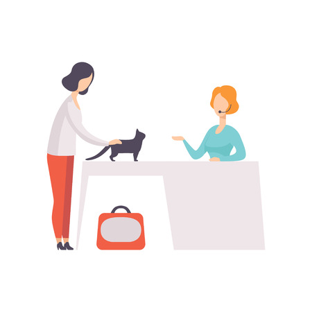 Young woman presenting her black cat to jury at cat breeds show vector Illustration on a white background