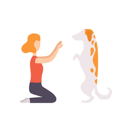 Owner and her purebred dog at show exhibition, master training her pet dog vector Illustration on a white background Illustration