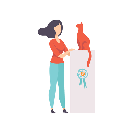 Owner presenting her purebred cat at show exhibition, cat took the first place on pet show vector Illustration on a white background